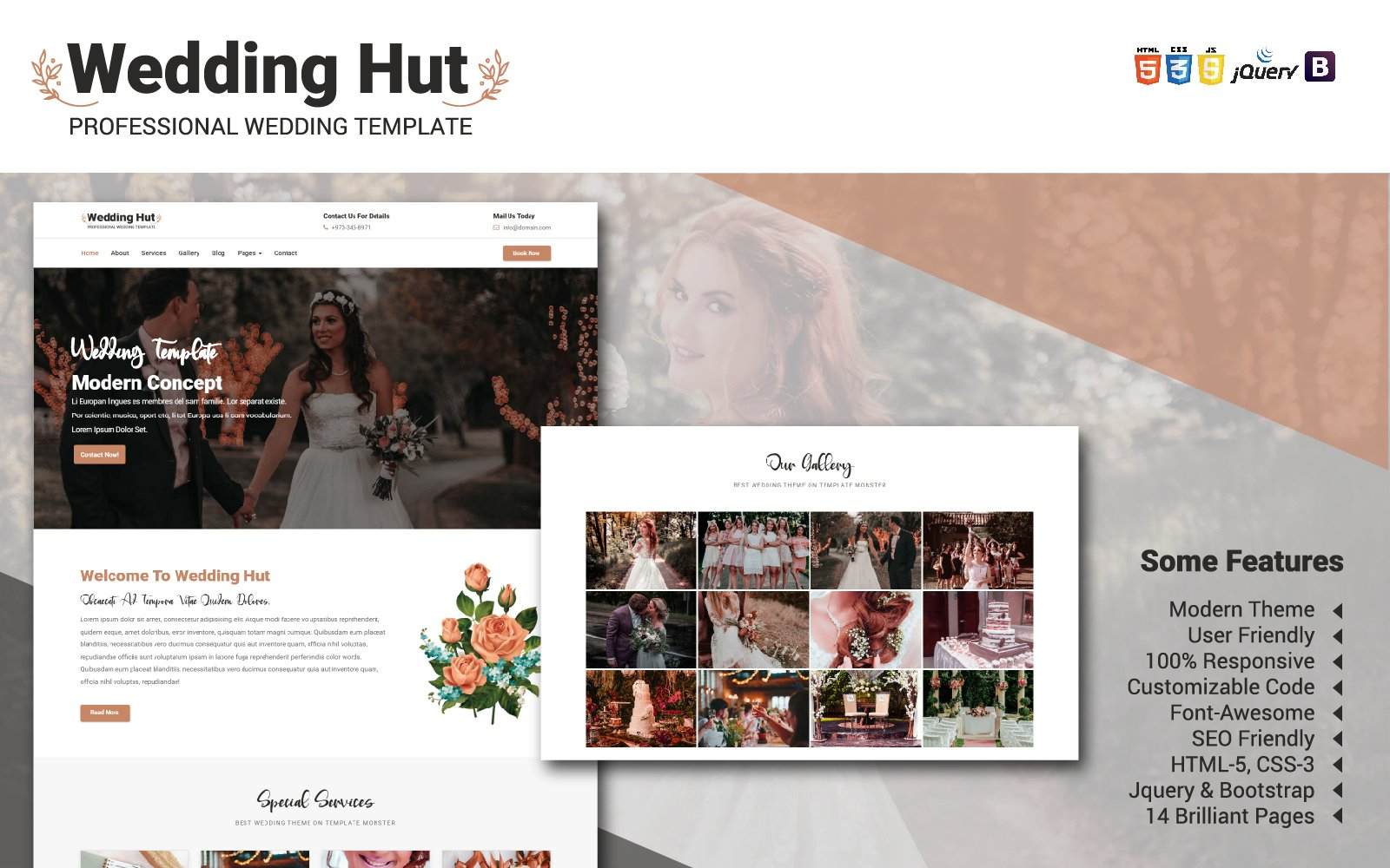 """Wedding Hut"" 响应式网页模板 #104987"