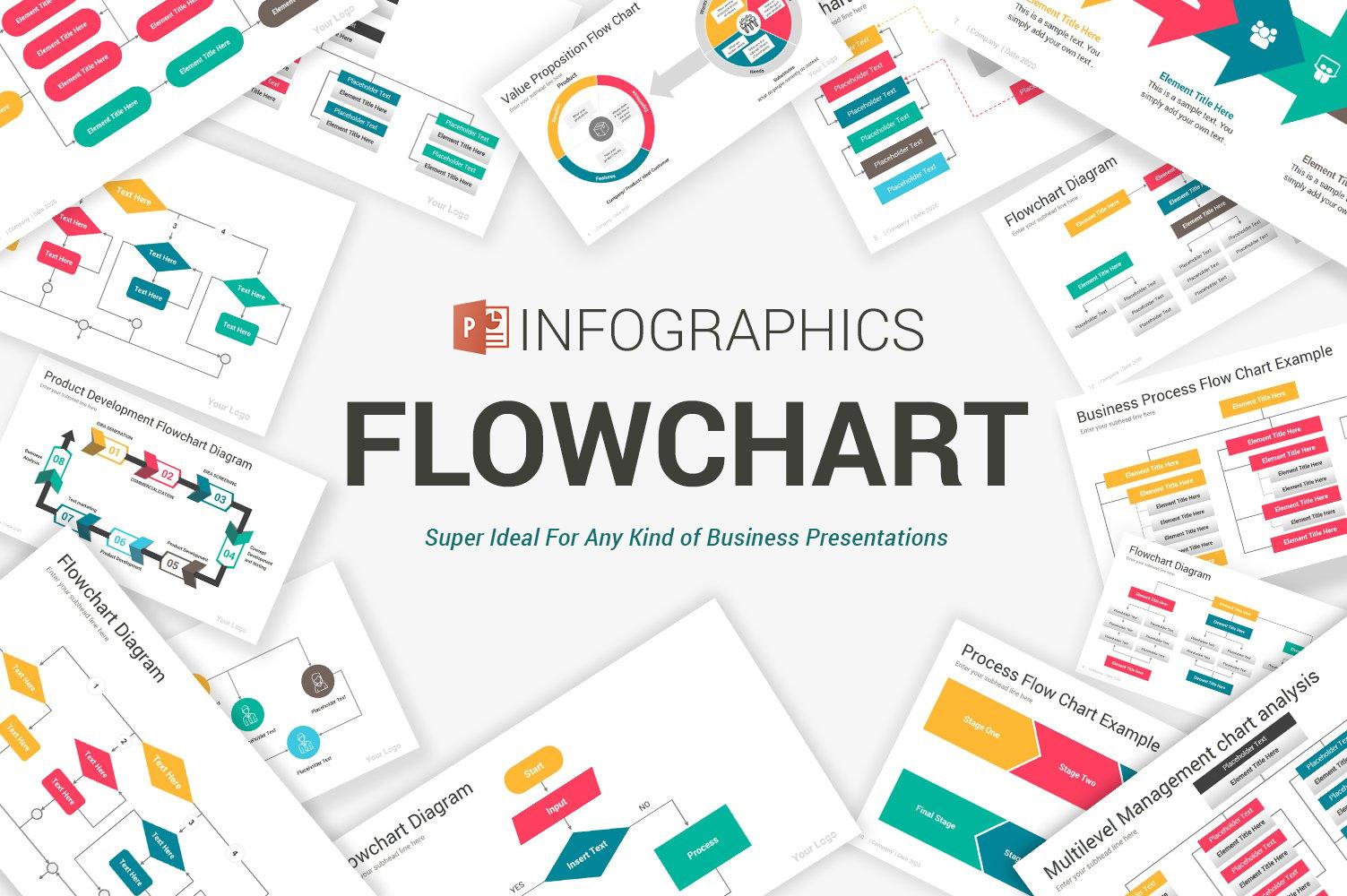"""Flowchart Diagrams"" 奖金PowerPoint 模板 #105084"