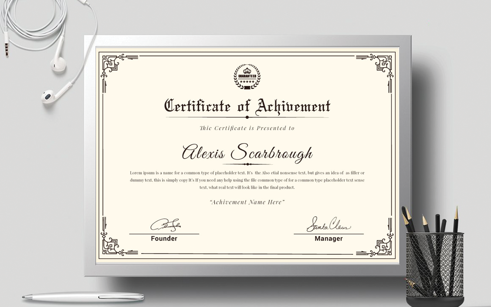 Layout Certificate Template