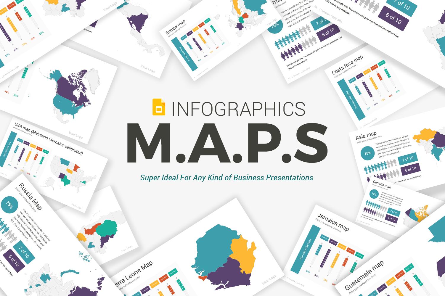 Maps infographics Google Slides
