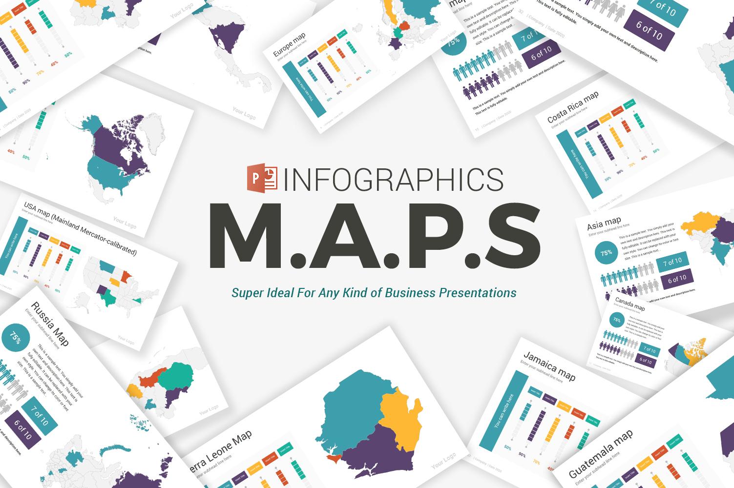 """""""Maps infographics"""" 奖金PowerPoint 模板 #105083"""
