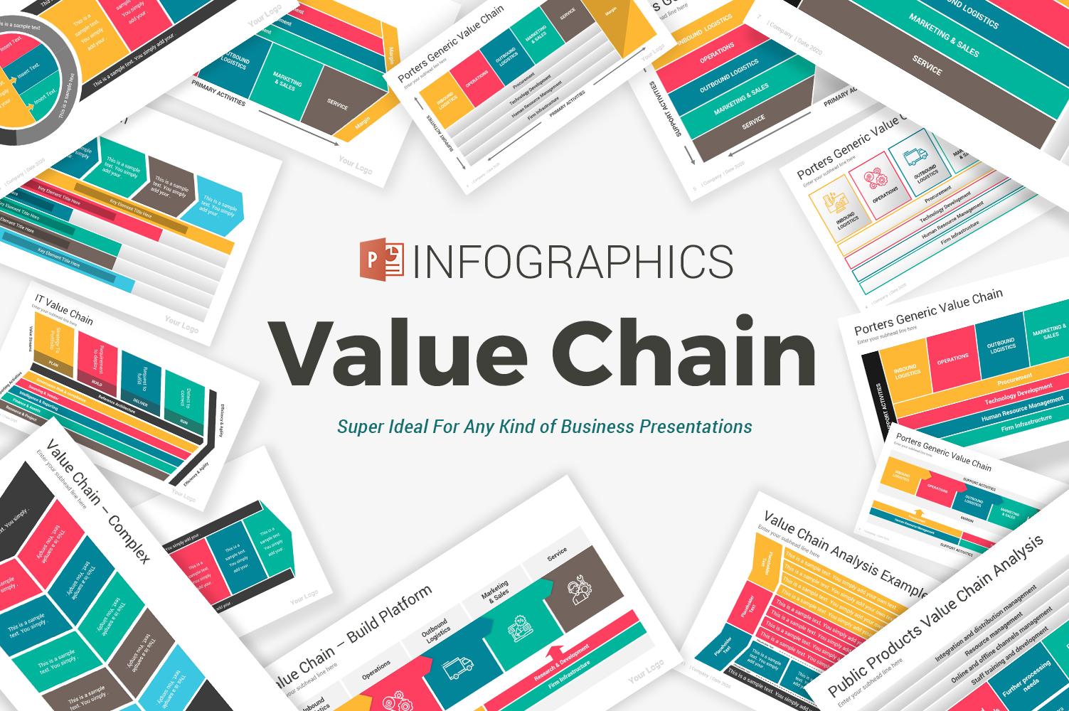 """""""Value Chain Diagrams"""" 奖金PowerPoint 模板 #105082"""