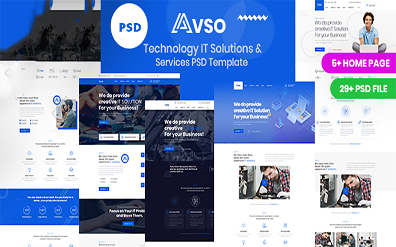 """PSD Vorlage namens """"Abso - Technology IT Solutions & Services"""" #105214"""