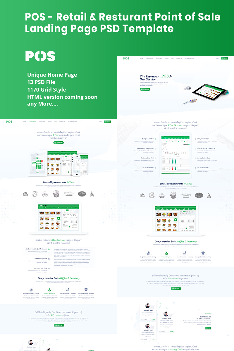Retail & Resturant Point of Sale Landing PSD PSD Template