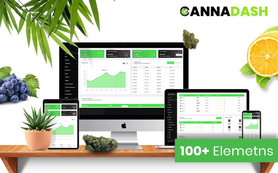 "Adminbereich Vorlage namens ""Cannadash | Cannabis & Weed Vendor CRM Dashboard Management system HTML5"" #105346"