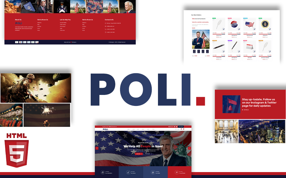 "Website Vorlage namens ""Poli Election Campaign & Donation Portal HTML5"" #105345"