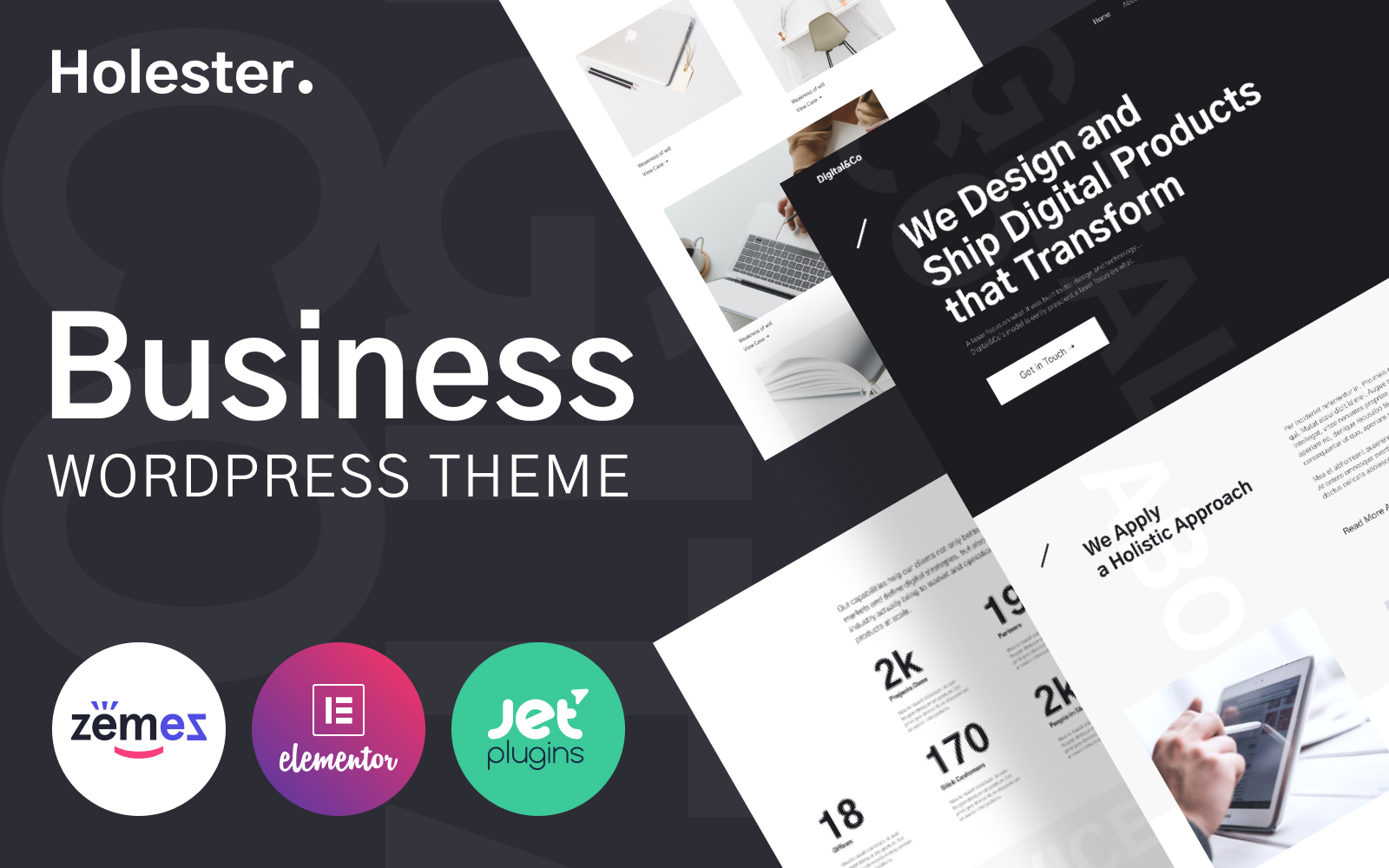 Holester - Business Services Website Template WordPress Theme