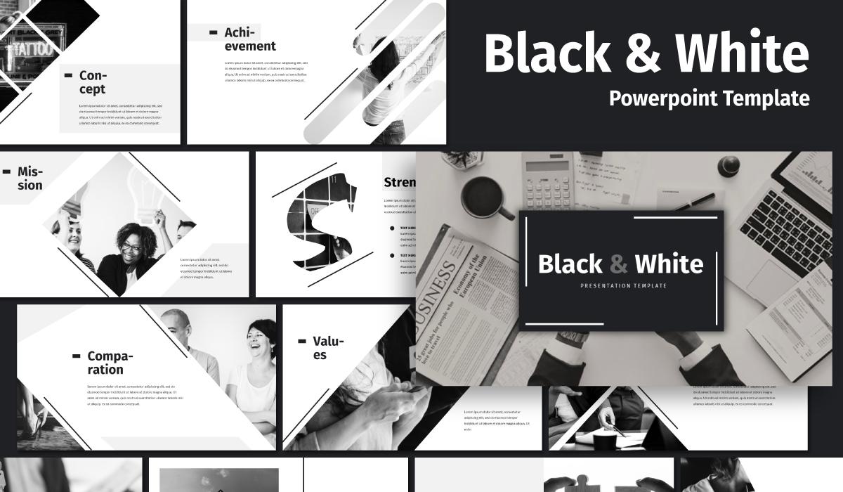 """Black & White - Business"" PowerPoint 模板 #105463"