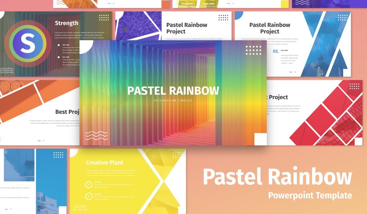 "PowerPoint Vorlage namens ""Pastel Rainbow - Multipurpose"" #105455"