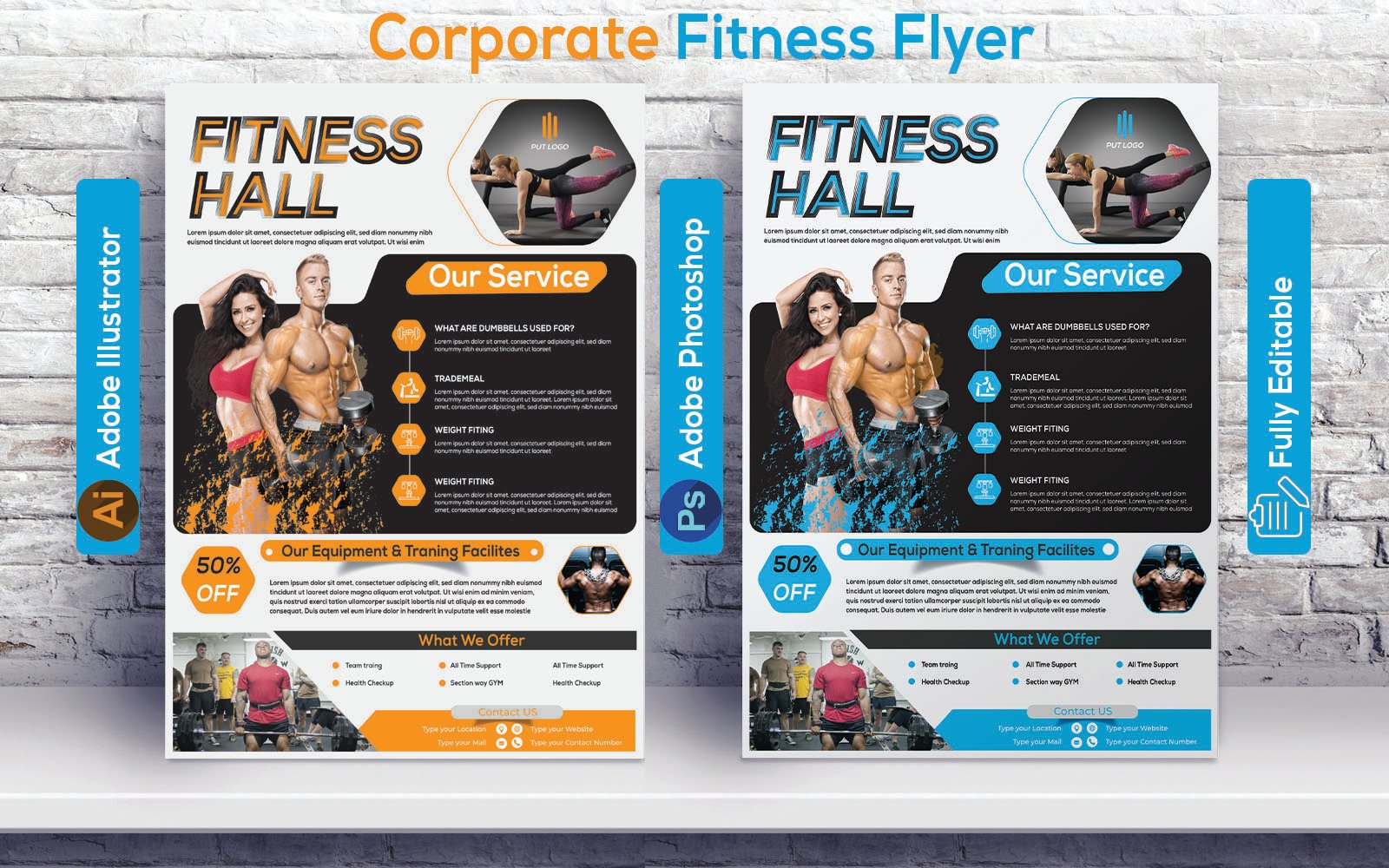 Professional Fitness flyer Design Corporate Identity Template