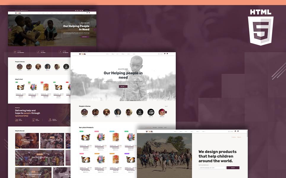 Vima | Charity Fundraising Shop & Donation Portal HTML5 Website Template