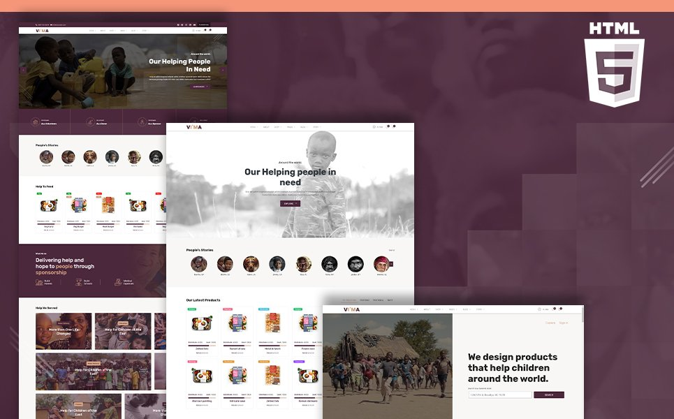 "Website Vorlage namens ""Vima | Charity Fundraising Shop & Donation Portal HTML5"" #105479"