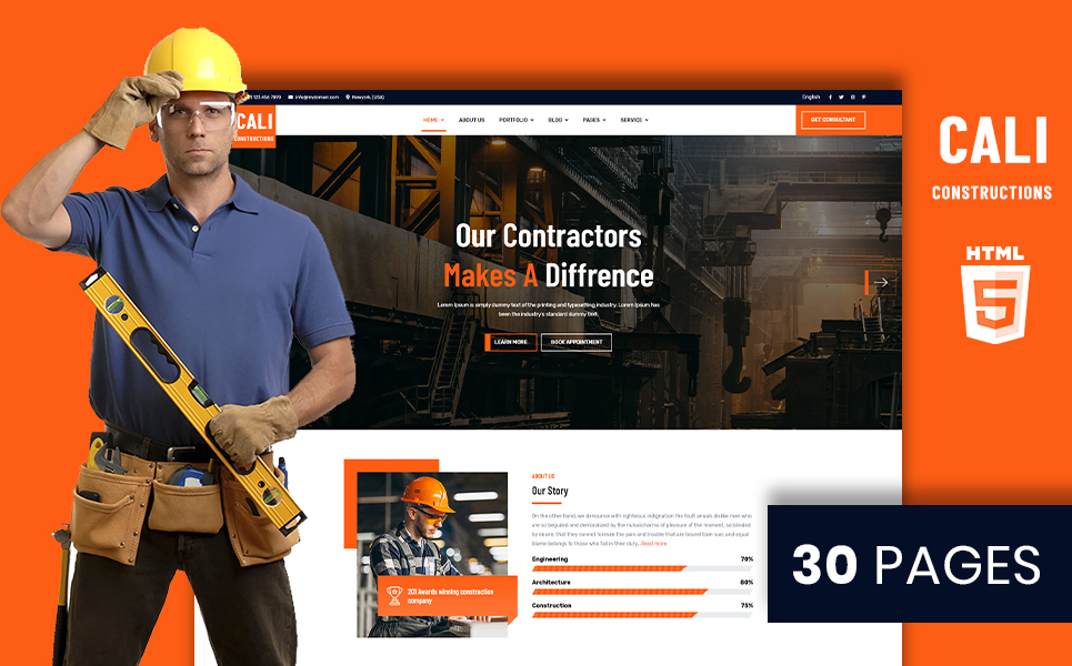 Cali Constructions   Construction & Tools Shop HTML5 №105502