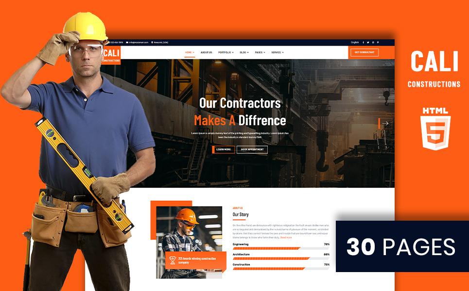 """Cali Constructions | Construction & Tools Shop HTML5"" 响应式网页模板 #105502"