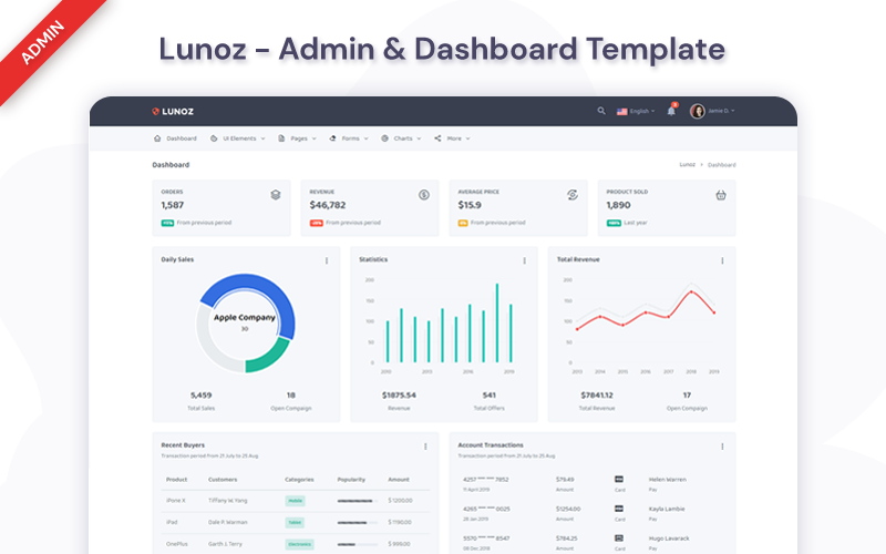 Lunoz -  Dashboard Admin Template