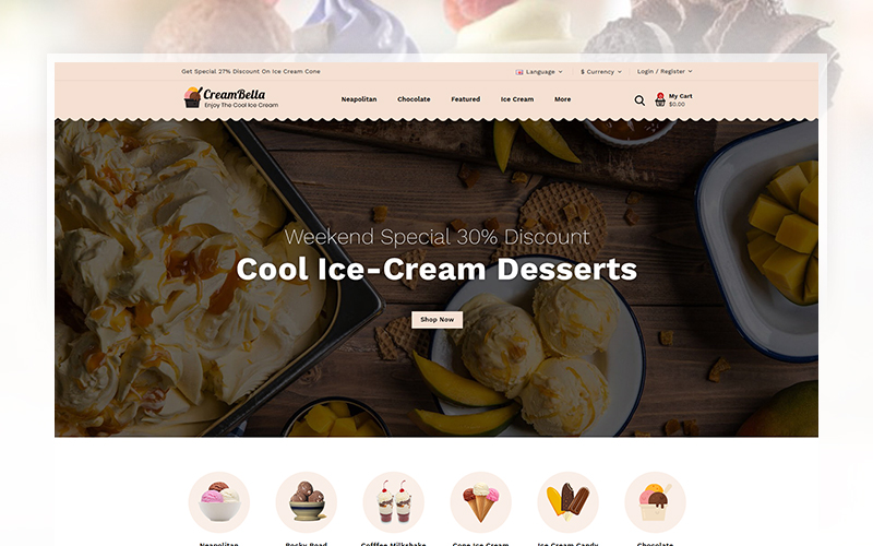 """CreamBella - Ice Cream Store"" 响应式OpenCart模板 #105673"