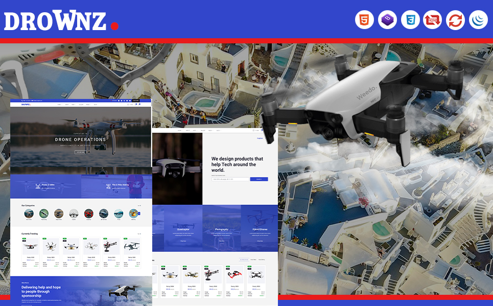 Drownz | Drone Shop and Ariel Photography HTML5 Website Template