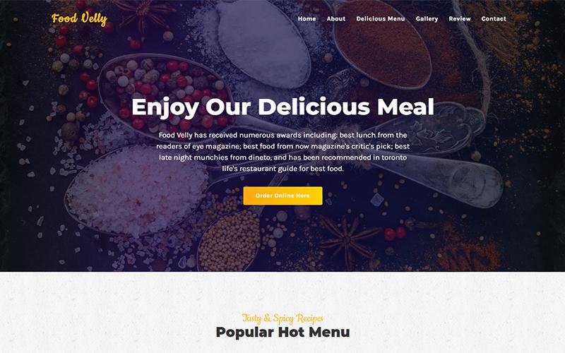 """Food Velly - Food & Resturant HTML"" modèle  de page d'atterrissage adaptatif #105671"