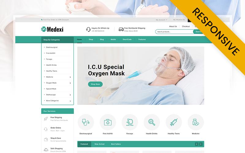 """Medexi - Medical Drug Store"" 响应式WooCommerce模板 #105674"