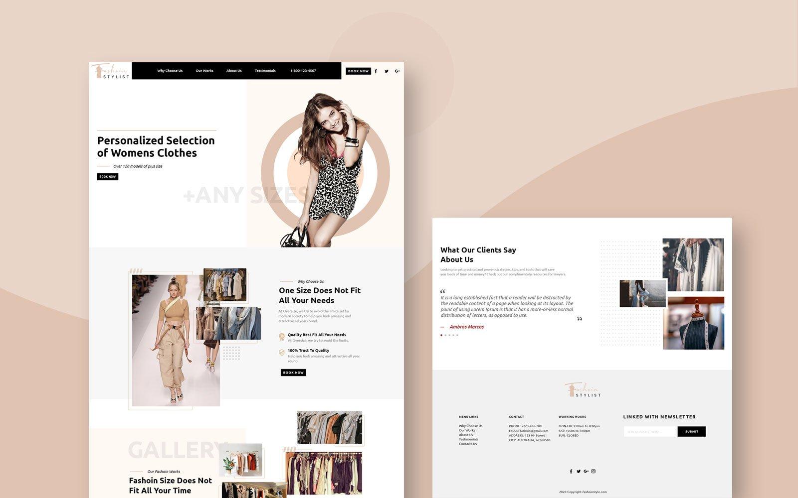 "PSD Vorlage namens ""Fashion Stylist Modern Style"" #105663"