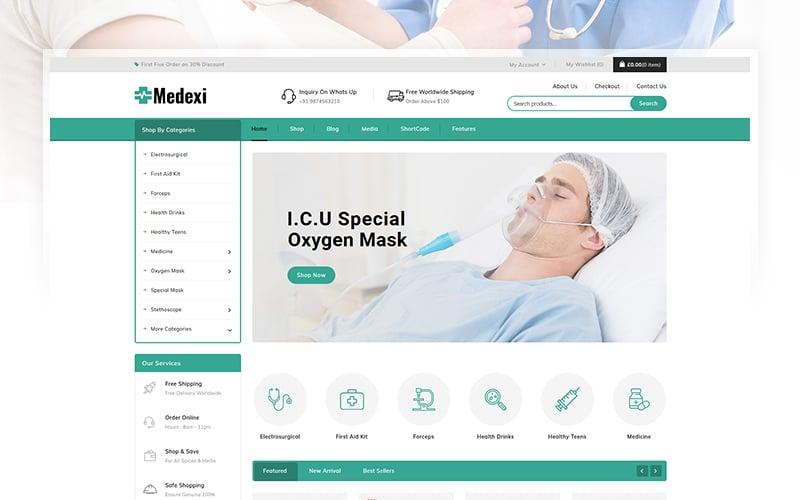 "WooCommerce Theme namens ""Medexi - Medical Drug Store"" #105674"
