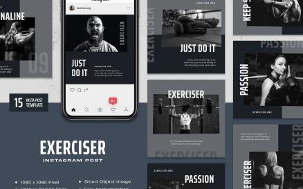 Exerciser - Gym & Fitness Instagram Post Template Social Media