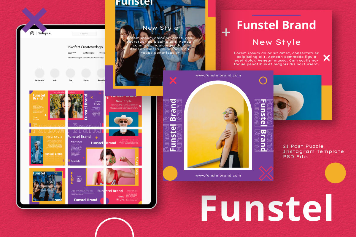 """Funstel Puzzle Instagram Feed Template"" 社交媒体 #105856"