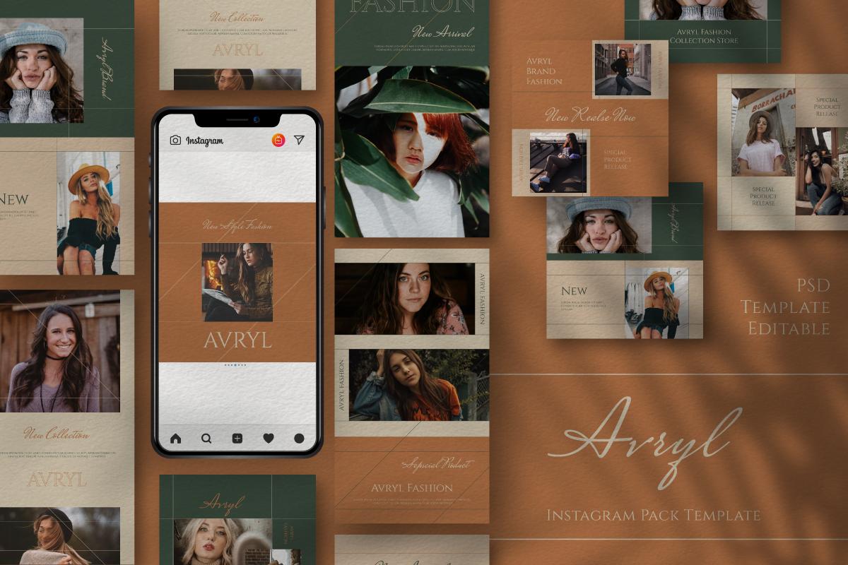 "Soziale Medien namens ""Avryl Story & Feed Instagram Template"" #105862"