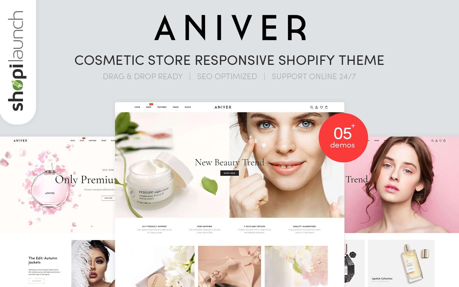 """Aniver - Cosmetic Store Responsive"" thème Shopify adaptatif #106055"