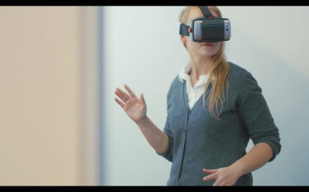 Woman Entertaining With VR-Headset for Mobiles - Stock Video