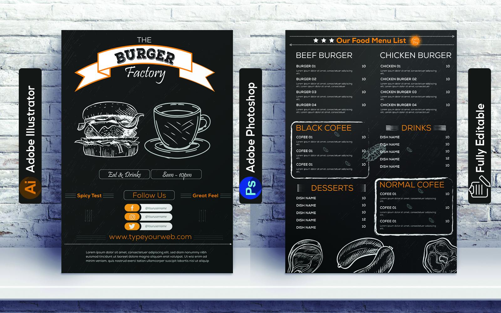 Restaurant Burger Menu design Corporate Identity Template