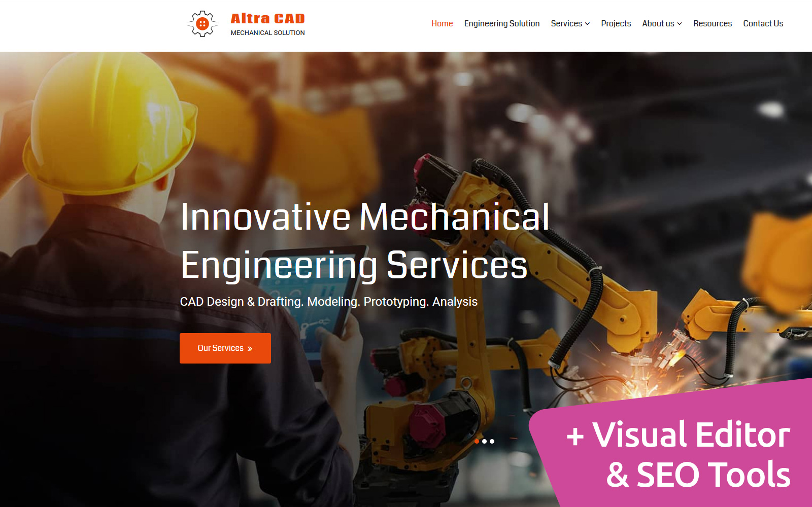 """Altra CAD - Mechanical Solution"" Responsive Moto CMS 3 Template №106468"