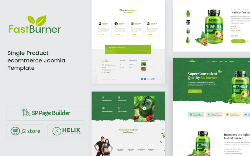 """Fastburner - Nutrition Supplement eCommerce"" 响应式Joomla模板 #106459"