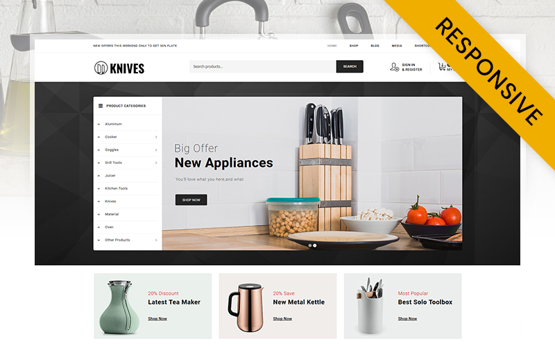 """""""Knives - Kitchen Accessories Store"""" 响应式WooCommerce模板 #106462"""