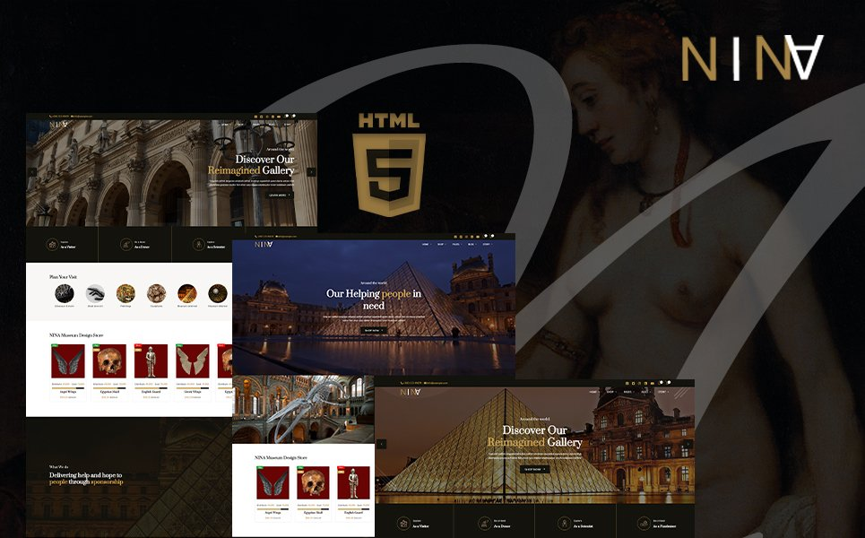 "Website Vorlage namens ""Nina | Art Gallery, Museum & Exhibition HTML5"" #106455"