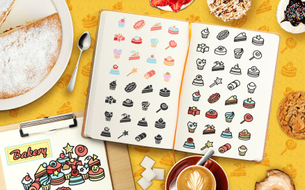 Cakes Elements Pack Vector Graphic