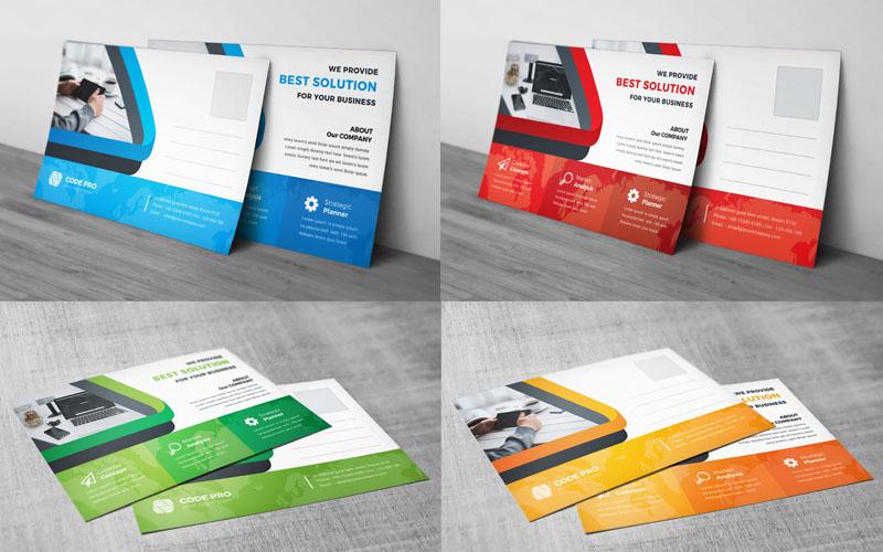 Orange Color Postcard Card Corporate Identity Template