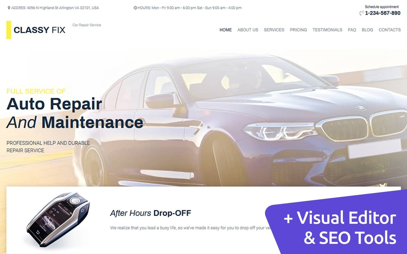 "Moto CMS 3 Template namens ""Classy Fix - Car Repair"" #106841"