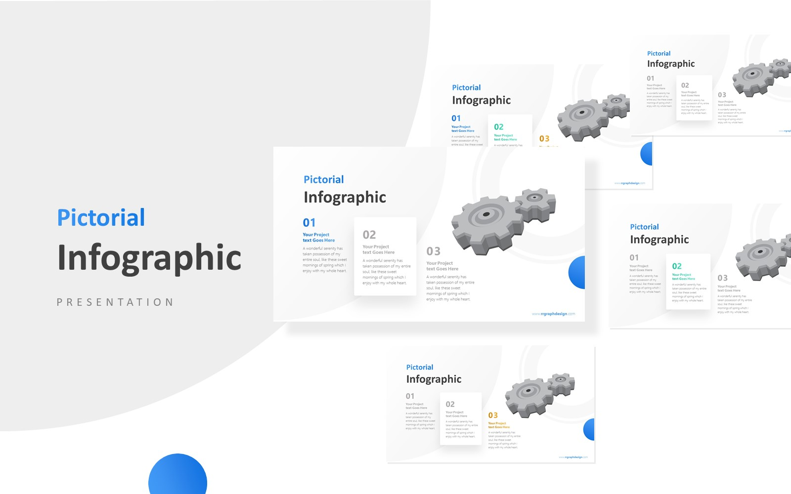 Three Stages of Business with Gear Infographic Presentation PowerPoint Template