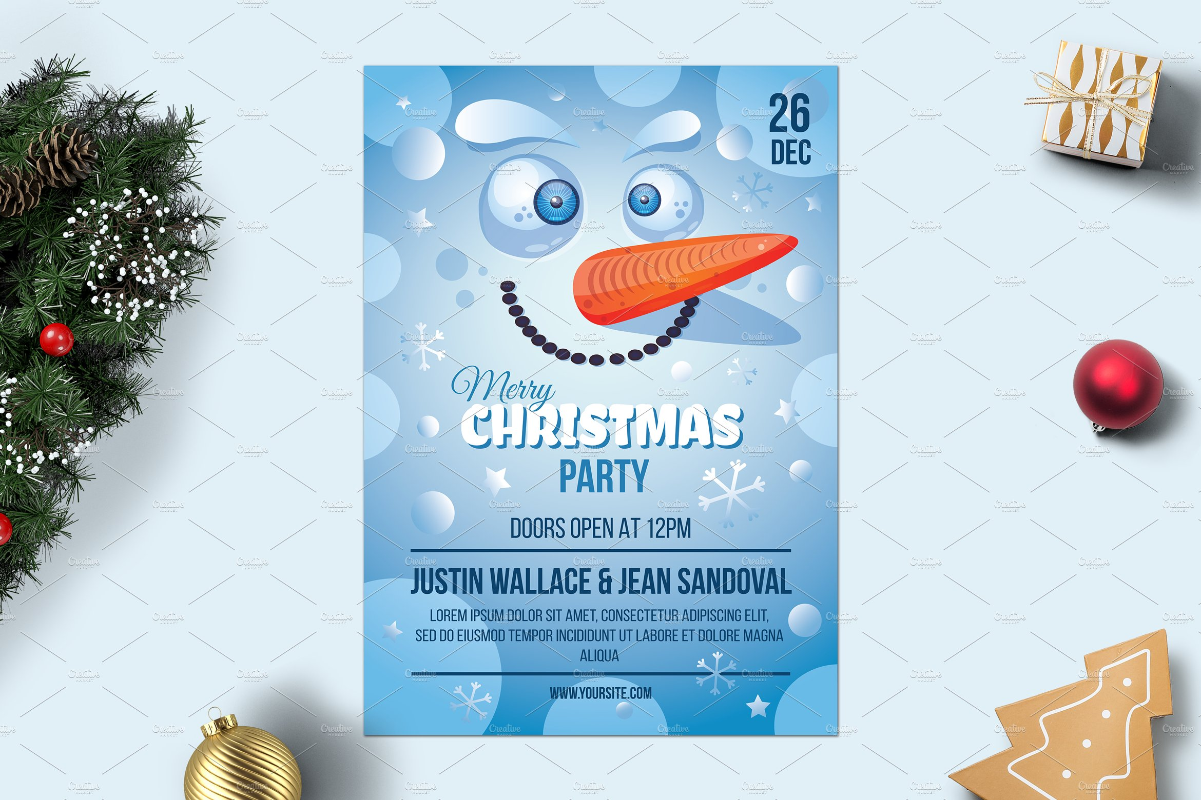 Merry Christmas Poster With Snowman Corporate Identity Template