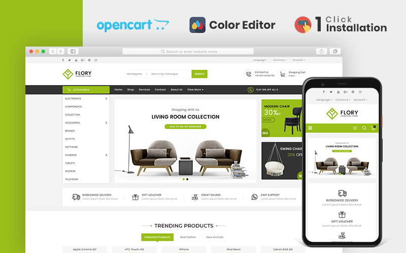 "Tema OpenCart Responsive #107016 ""Flory Furniture Store"""