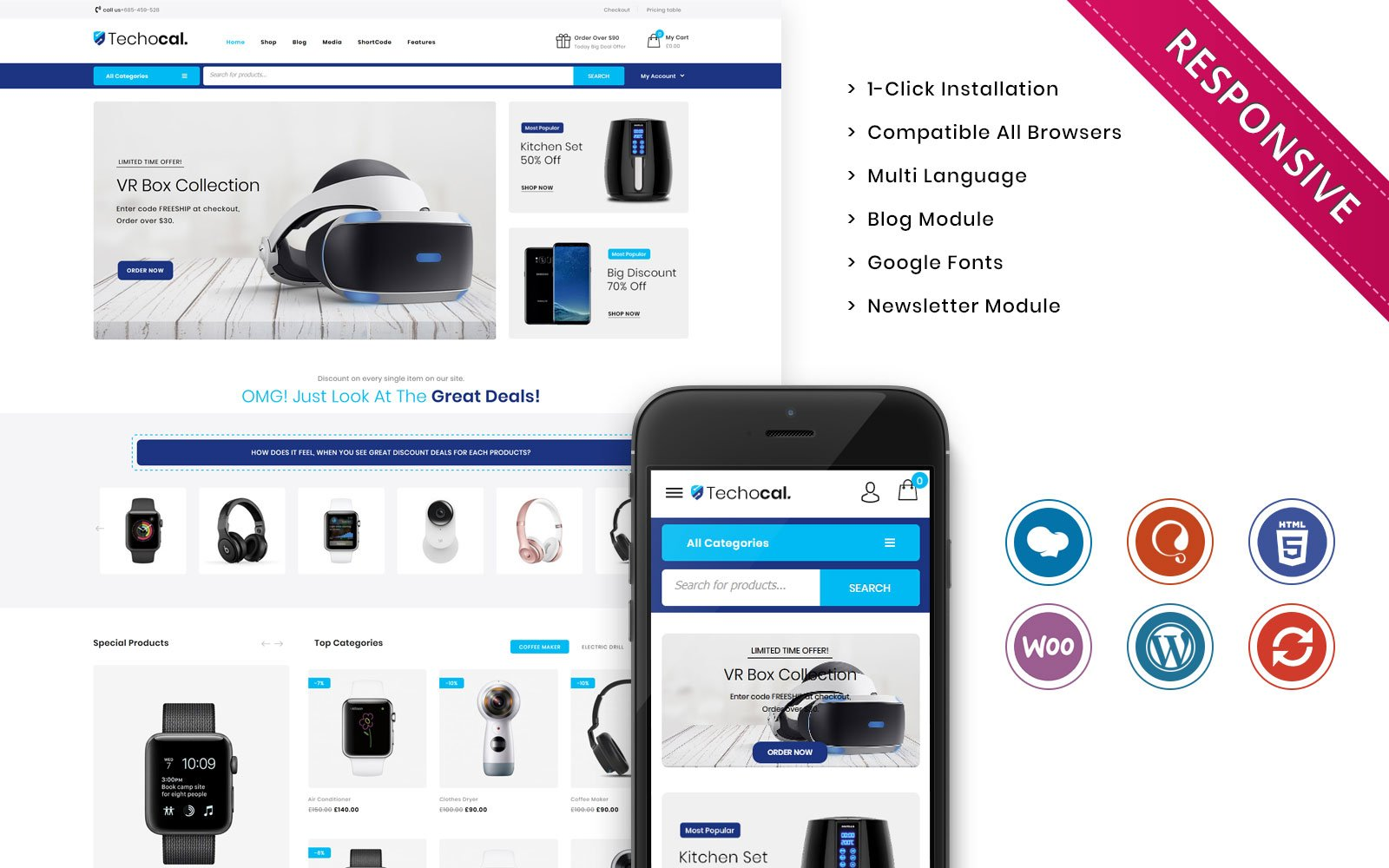 """Template WooCommerce Responsive #107011 """"Techocal - The Premium Electronic Store"""""""