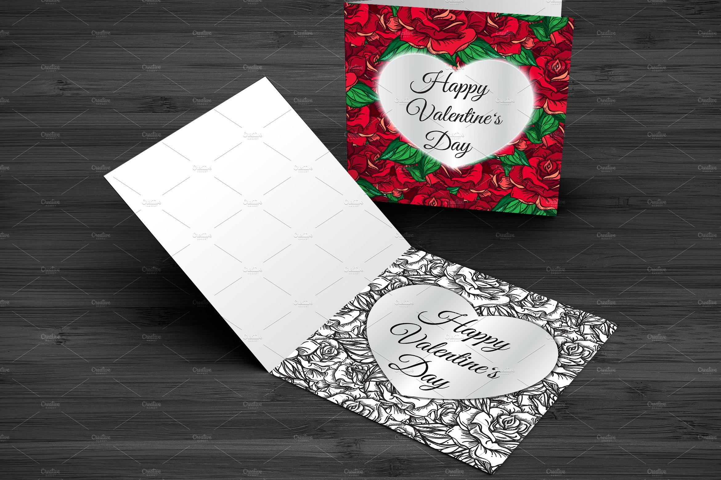 Valentine's Day Cards With Roses Corporate Identity Template