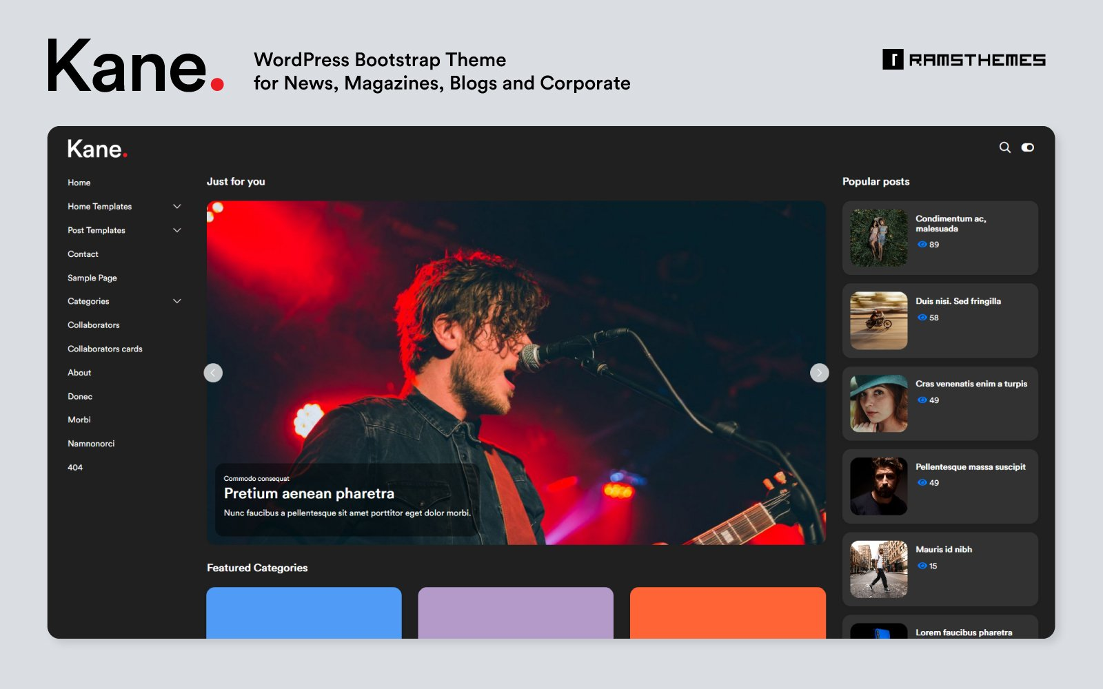 KANE - News Magazine Blog Bootstrap WordPress Theme