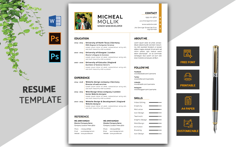 Minimal CV Resume Template