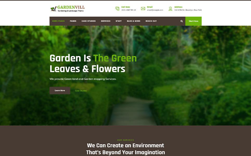"Tema WordPress Responsive #107103 ""Gardenvill   Gardening and Plantation"""