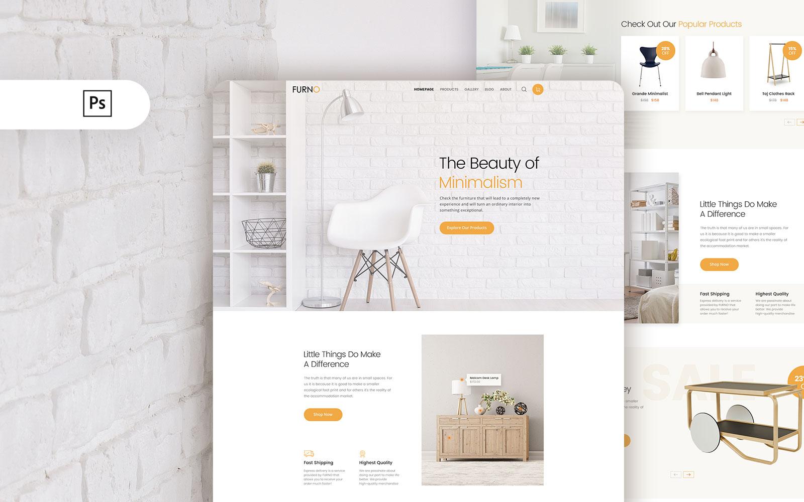 """PSD Vorlage namens """"Furno - Furniture Online Shop Landing"""" #107220"""
