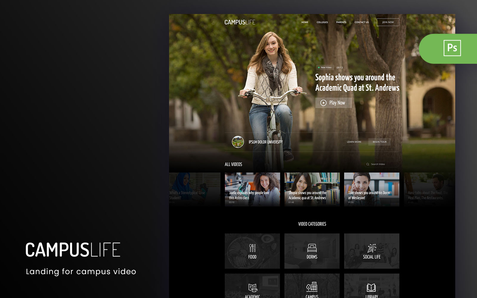 CampusLife - Campus Landing for Video Activity PSD Template