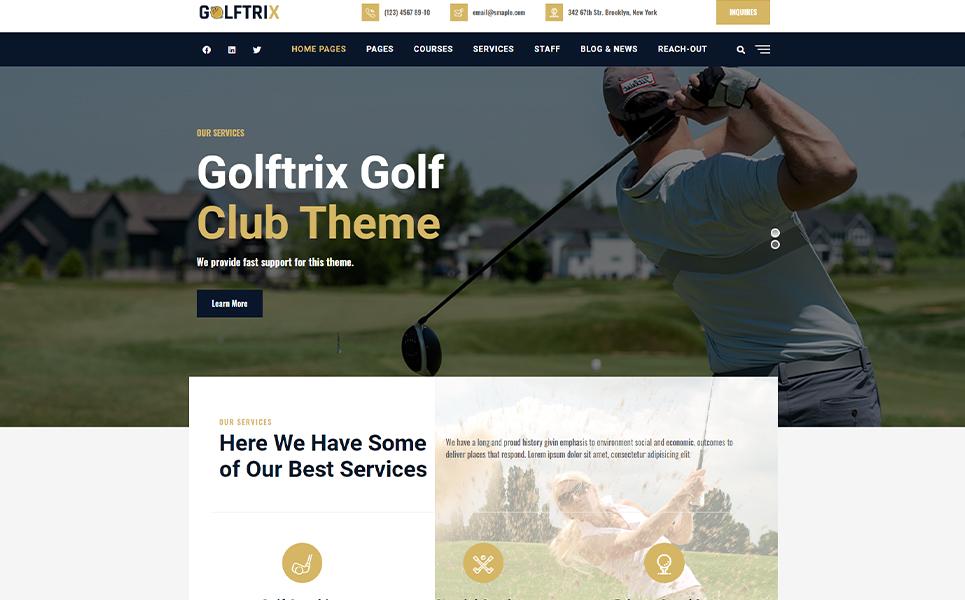 """Golftrix | Golf Club"" 响应式WordPress模板 #107308"