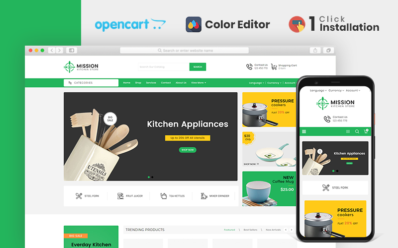 """Mission Kitchen Store"" Responsive OpenCart Template №107306"